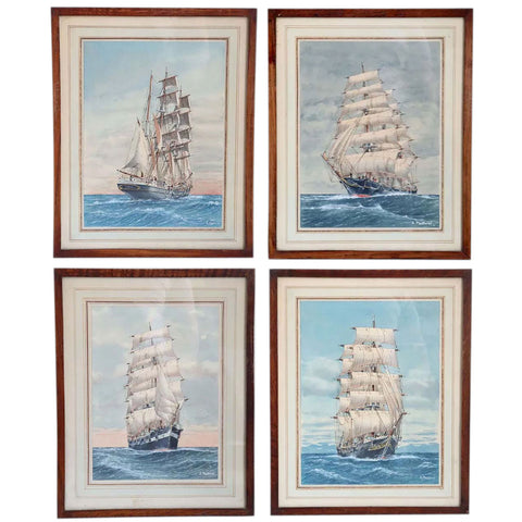 Four A. PASTOREL Watercolor and Gouache on Paper, Sailing Ships