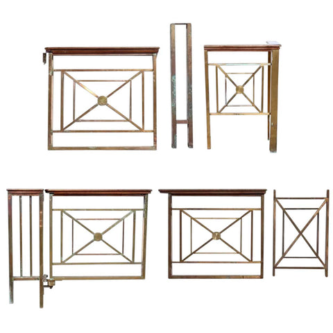 Five-Part American Solid Bronze and Mahogany Architectural Railing