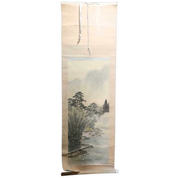 Japanese Meiji Vertical Ink and Watercolor Hanging Scroll (Kakejiku) Painting with Box