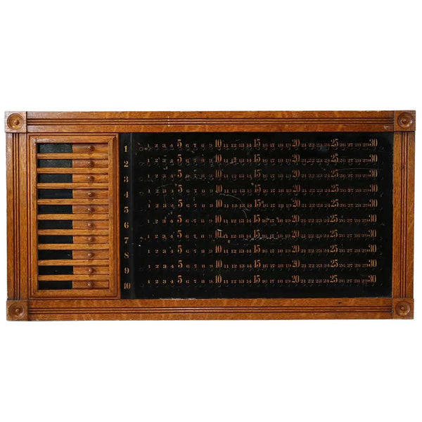 American Brunswick-Balke-Collender Co. Quarter Sawn Oak Billiards Pin Pool Score Board