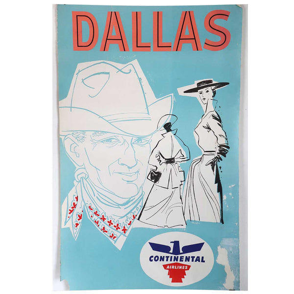 Vintage American Continental Commercial Airline Advertising Travel Poster, Dallas
