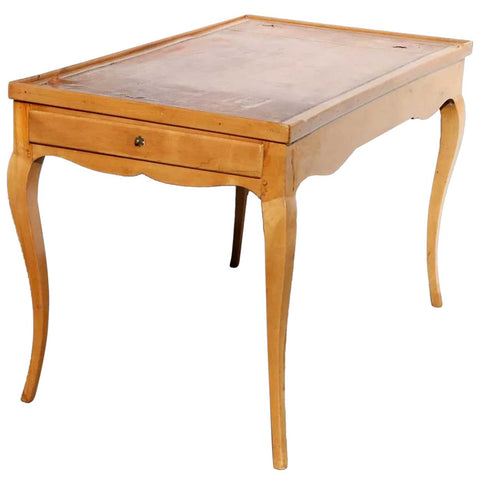 French Provincial Pearwood Leather Top Side Table / Card Table