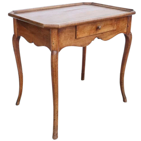 French Provincial Louis XV Style Walnut Gallery Top Rectangular Side Table