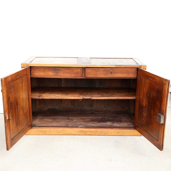French Restoration Period Walnut and Black Marble Top Buffet Sideboard Cabinet