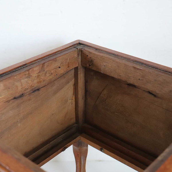 French Provincial Walnut Copper Lined Square Planter Stand