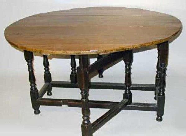 Large English George III Dark Oak Gate-Leg Dining Table