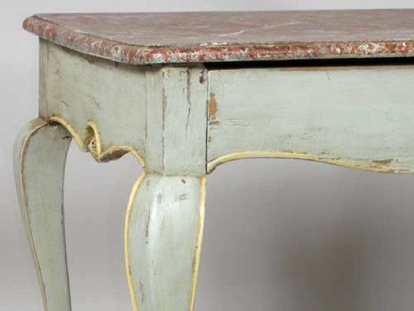 French Provincial Faux Marble Painted Side Table