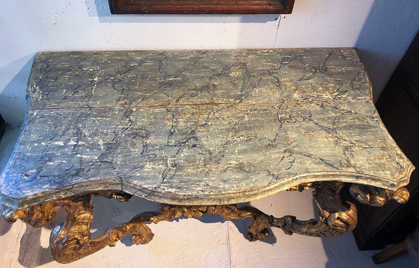 French Rococo Giltwood and Faux-Marble Top Wall Console Table