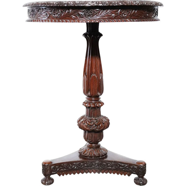 Small Anglo Indian William IV Rosewood Round Tilt-Top Pedestal Side Table