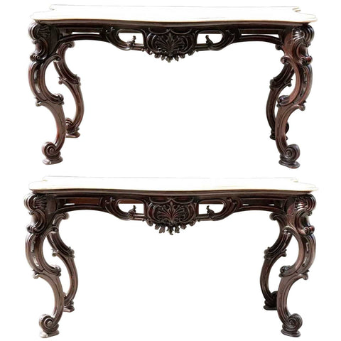 Large Pair of Anglo Indian Rococo Style Marble Top Mahogany Console Tables