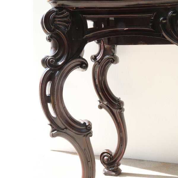 Pair of Anglo Indian Marble Top Mahogany Console Tables