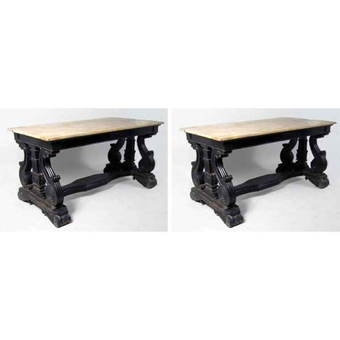 Pair of Anglo Indian Regency Rosewood and Marble Library Tables