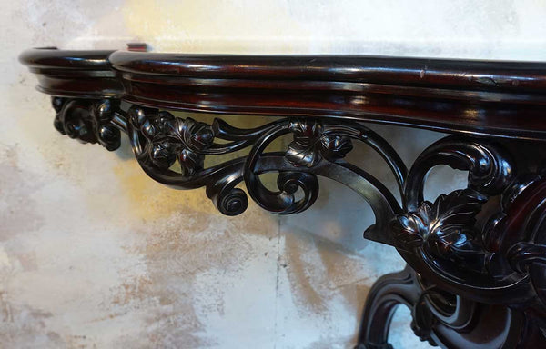 Pair of Anglo Indian Mahogany and Mirrored Top Wall Bracket Consoles