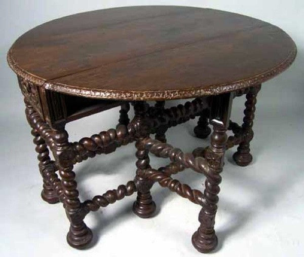 Indo Portuguese Teak Gate Leg Table
