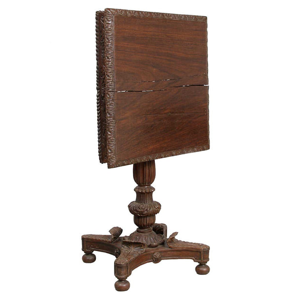 Anglo Indian William IV Rosewood Square Tilt-Top Side Table