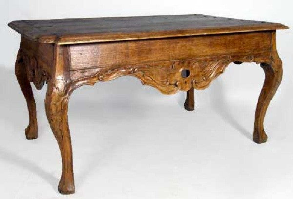 Peruvian Rococo Hardwood Rectangular Center / Console Table