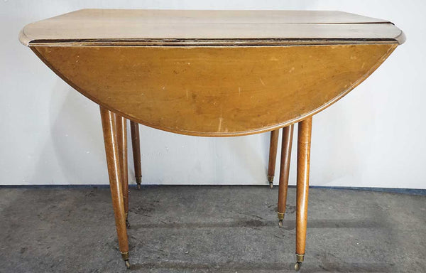 French Provincial Directoire Period Pale Walnut Oval Drop-Leaf Table