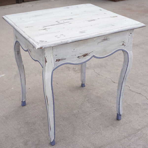 French Provincial Louis XV White Painted Fruitwood Side Table