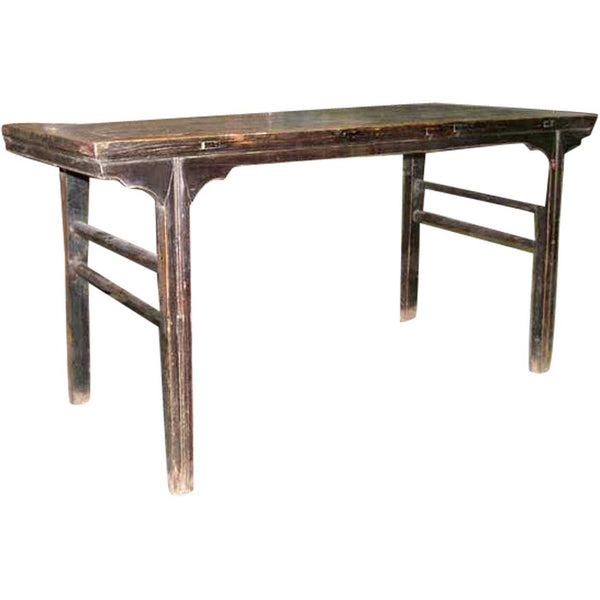 Chinese Elm Recessed Trestle-Leg Drawing Table