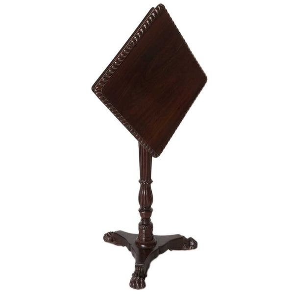 Anglo Indian William IV Rosewood Square Pedestal Side Tilt-Top Table