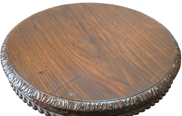 Anglo Indian William IV Rosewood Round Tilt-Top Pedestal Side Table