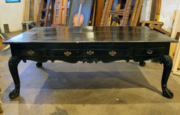 Important Large Indo-Portuguese Ebonized Teak Library Desk