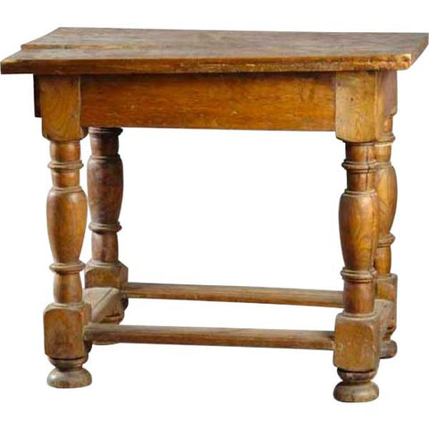 Danish Baroque Oak Box Stretcher Plank Top Side Table