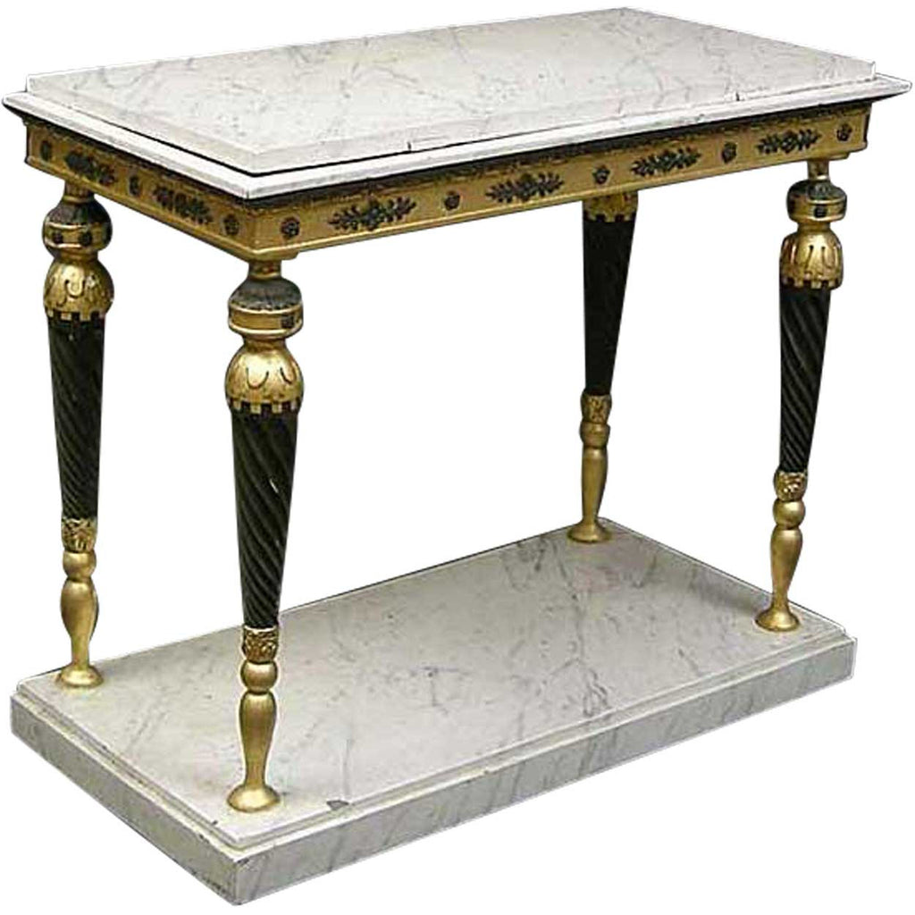 Exceptionnel Swedish Gustavian Ebonized, Gilt And Faux Marble Console Table