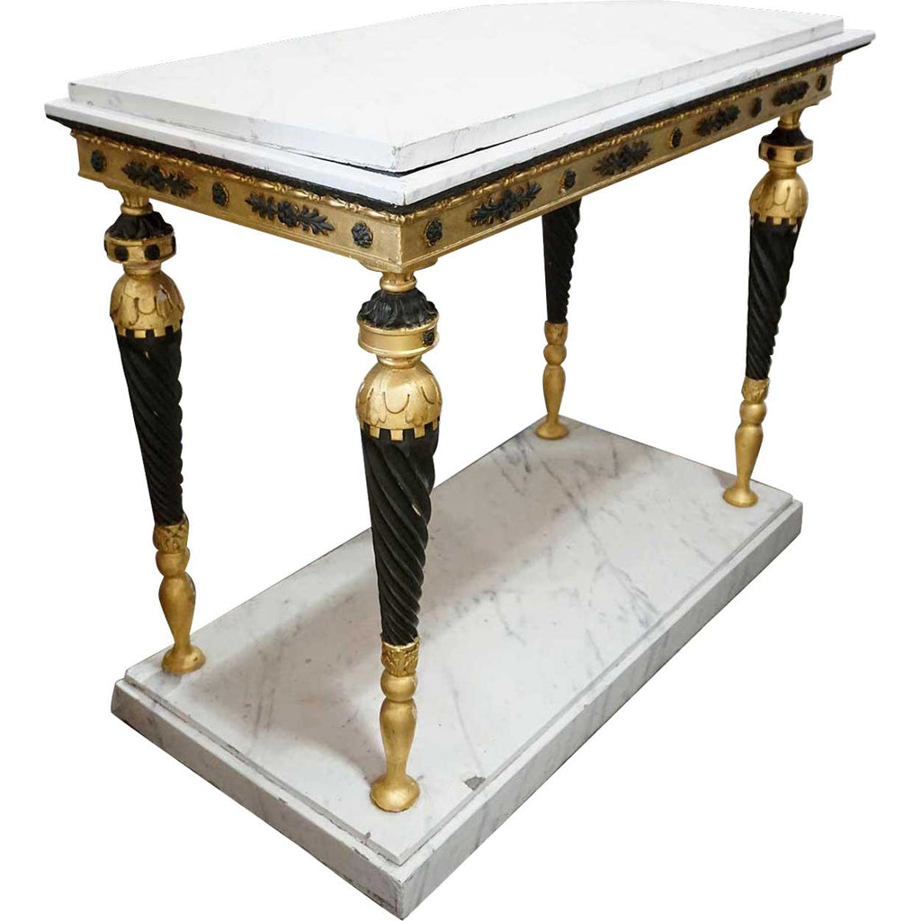 Antique Swedish Gustavian Ebonized Gilt And Faux Marble Console Table