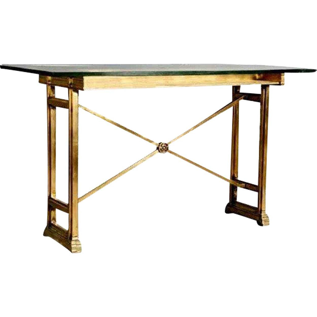 Perfect Tall Neoclassical Style Bronze Glass Top Bank Writing Table