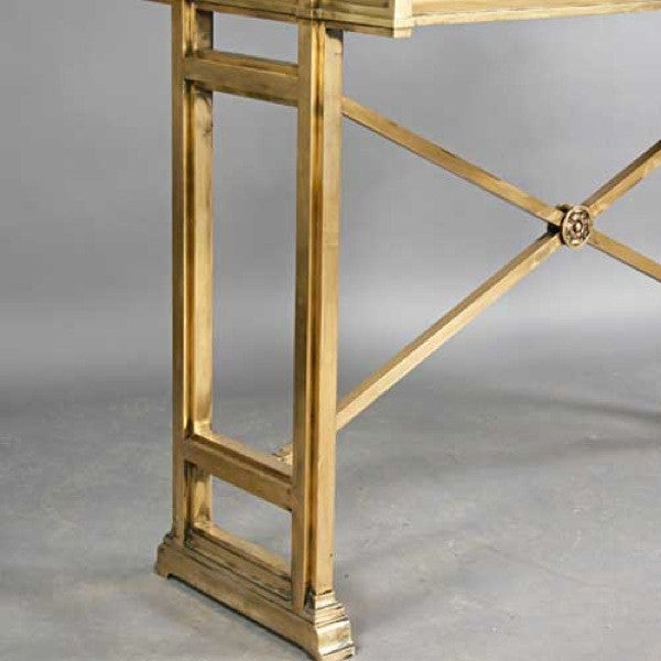 Tall Neoclassical Style Bronze Glass Top Bank Counter Height Writing Table