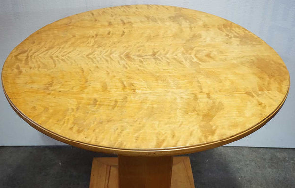 Swedish Arts and Crafts Inlaid Birch Round Pedestal Side Table