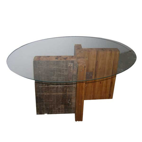 American Maple Boxcar Flooring and Glass Top Coffee Table