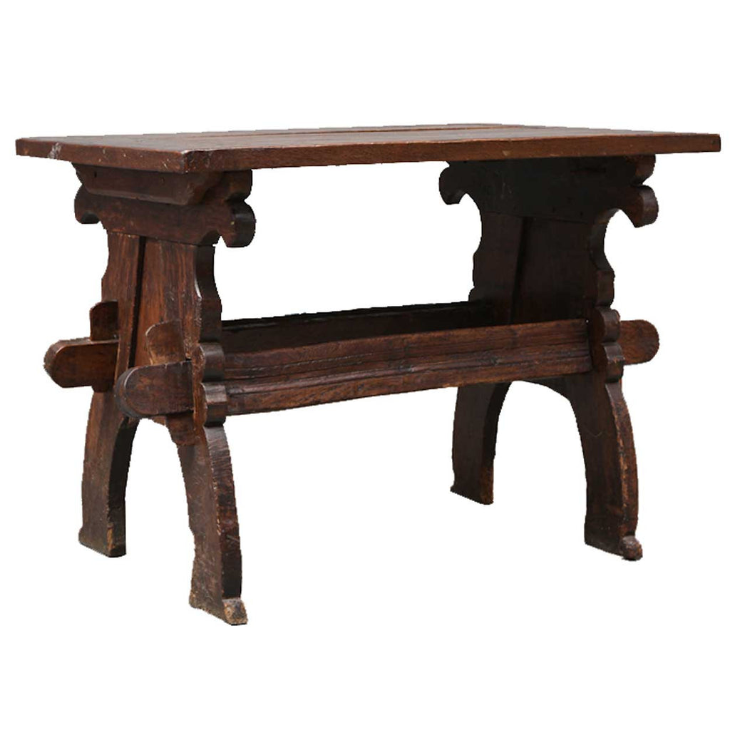 Dutch Dark Oak Plank Trestle Table