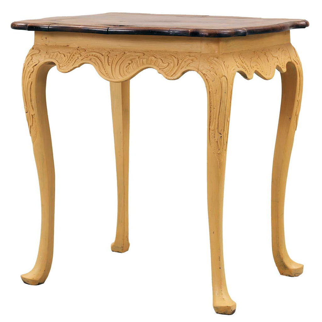 Swedish Rococo Painted And Walnut Parquetry Side Table