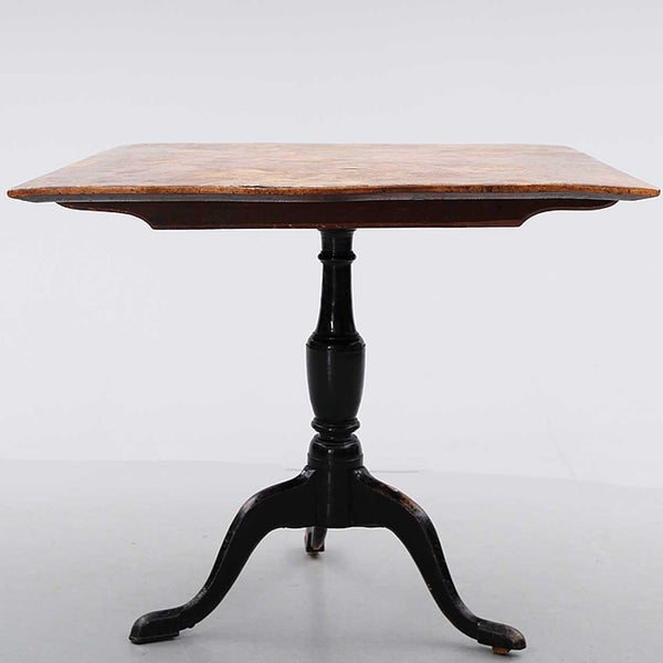 Swedish Burled Birch Rectangular Tilt-Top Pedestal Table