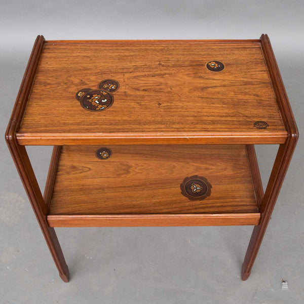 French LOUIS MAJORELLE Jugendstil Inlaid Walnut Two-Tier Side Table