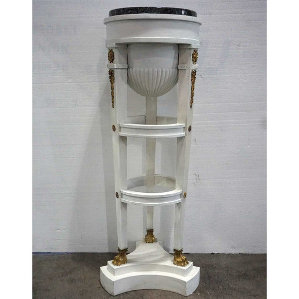 Swedish Gustavian Style Marble Top White Painted Pine Round Pedestal