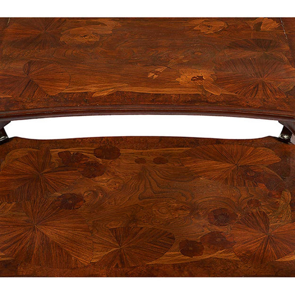 French Louis Majorelle Art Nouveau Marquetry Two-Tier Occasional Table
