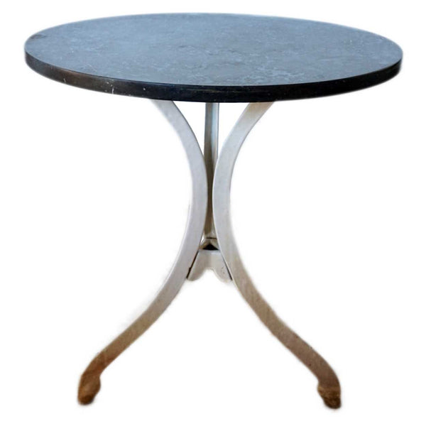 American White Enameled Iron Stone Top Pub Side Table