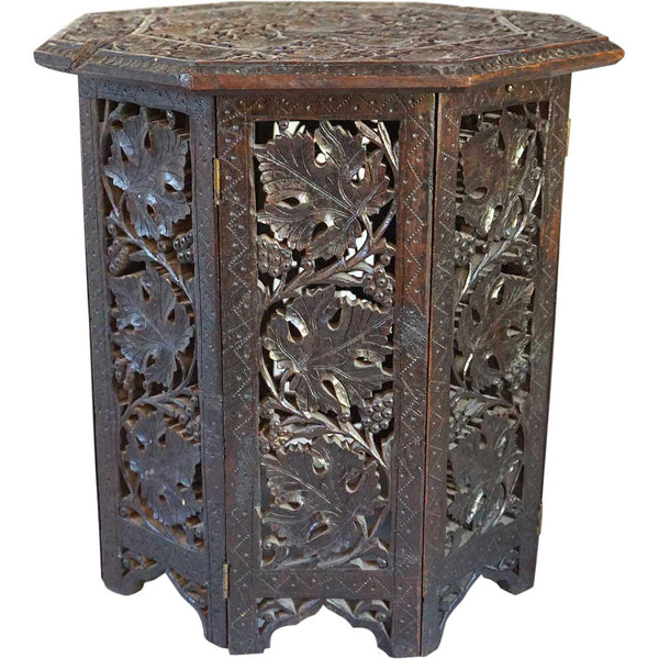 Small Indian Teak Octagonal Folding Side Table