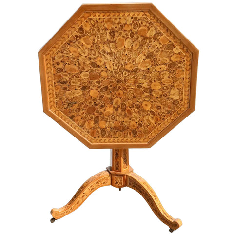 English Laburnum Oyster Veneer Octagonal Pedestal Tilt-top Side Table