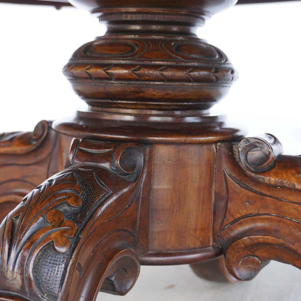 English Victorian Burled Walnut Oval Pedestal Coffee Table