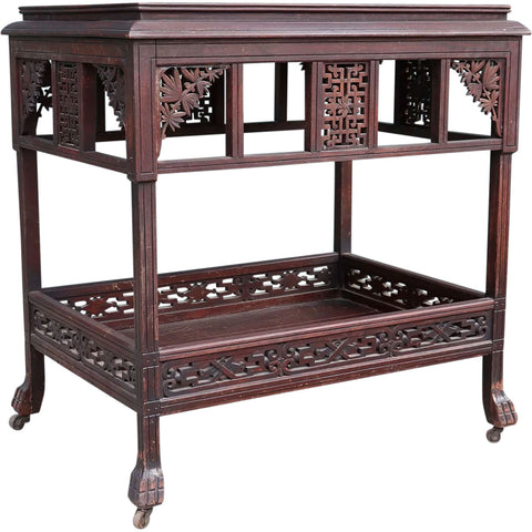 American Herter Style Aesthetic Movement Rosewood Two-Tier Side Silver Table