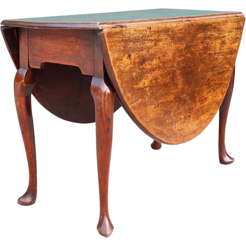 English Queen Anne Mahogany Oval Drop-Leaf Table