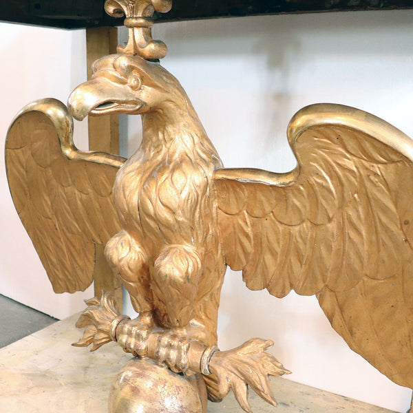 Swedish Karl Johan Gilt Marble Top Eagle Console Table