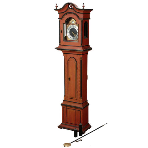 Small Scale Swedish Red Painted Pine Longcase Clock