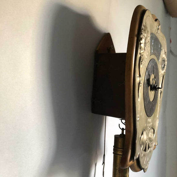 Unusual German Art Nouveau Brass and Beechwood Hanging Wall Clock