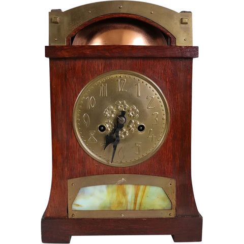 German Jugendstil Oak, Brass Mounted and Colored Glass Mantel Clock