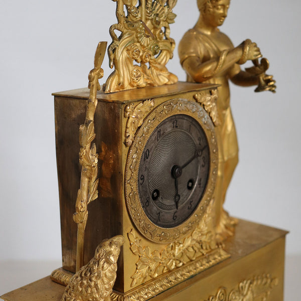 French Empire Ormolu Bronze Figural Mantel Clock